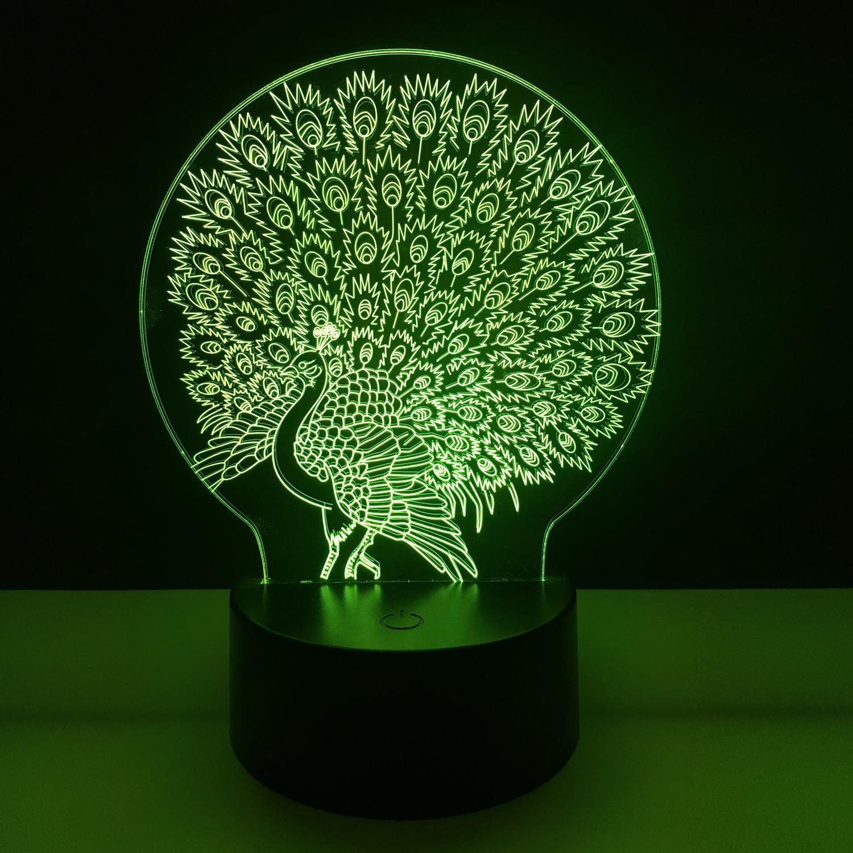Красочные Павлин 3D ночник USB Touch настольная лампа для детей подарок 3D Оптические иллюзии лампа ночники для спальня P15