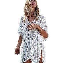 цены на 2018 New Beach Cover Up Bikini Knitted Crochet Side Split Tie Beachwear Summer Swimsuit Cover Up Sexy See-through Beach Dress в интернет-магазинах