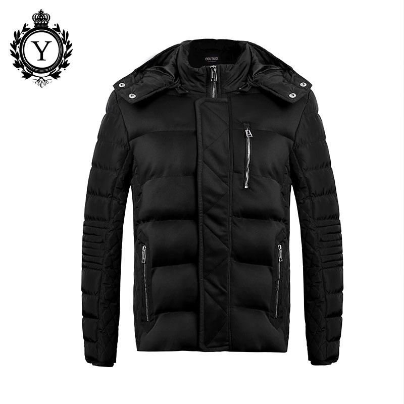ФОТО 2016 New Winter Jackets Men Solid Black Male Parkas Hombre Invierno Fashion Warm Coat Hooded Zipper Outwear Clothing For Men 105
