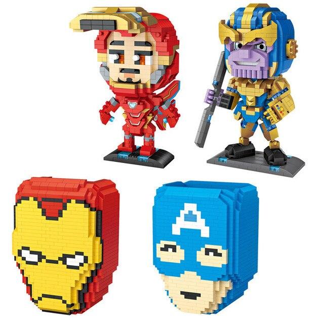 Marvel Vingadores Liga de Partículas Finas Montado Blocos de Construção de Brinquedo das Crianças Criativas Série de Super-heróis da Marvel