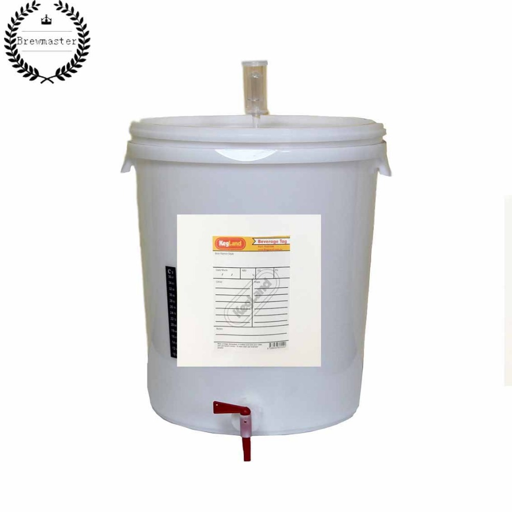 30L WIDE LID FERMENTER KIT WITH TAP, AIRLOCK, GROMMET AND STICK ON THERMOMETER-fast Fermentation Barrel Fermenter Container