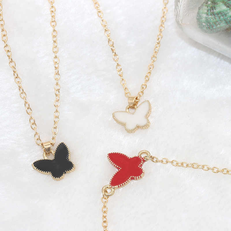 Black White Red Butterfly & Heart Pendant Golden Choker Short Necklace for Women