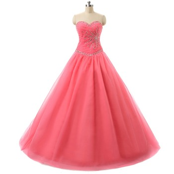 Long Prom Dresses In Stock Sweetheart Pleat Beading Lace-up Back Ball Gown Cheap Quinceanera Dresses