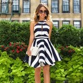 2016 New High Neck Club dress Women Vintage Striped Midi Dress Elegant Swing Dresses Off Shoulder Sexy Party Dresses plus size