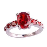 lingmei Beauty Lady Oval Cut Garnet  Silver Ring Size 6 7 8 9 10 11 12 13 New Fashion Jewelry Rings Wholesale Free Shipping