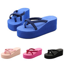 MUQGEW Hot Style Women's High Heels Slippers Pure Color Flip-Flops High-Heeled Wedge With Thick-Legged Sandals Women Beach Shoes(China)