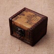 Caja de almacenamiento de Mapa de madera Vintage 2018, caja de joyería, gemelos, cofre, regalo pequeño A14_20