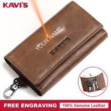 KAVIS Multifunctionl Genuine Leather Housekeeper Key Wallet Man Ring Case Holder Organizer Coin Pocket Keychain Wrap Pouch(China)