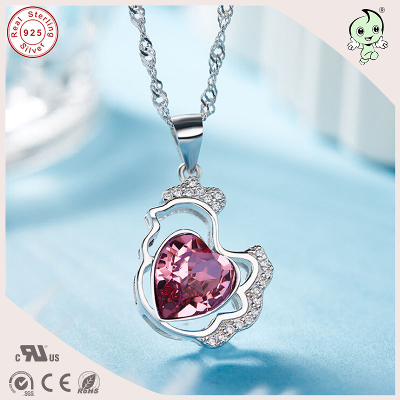 Fashion Silver Lucky Gift Beautiful Famous Crystals 925 Sterling Silver Chicken Pendant Necklace For Grils