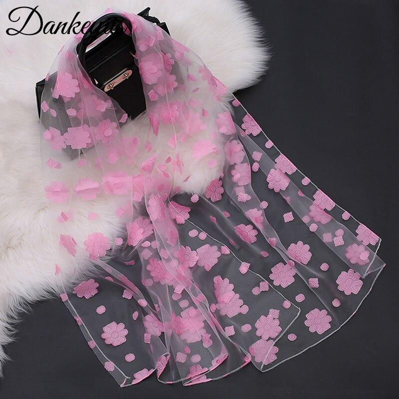 DANKEYISI Fashion Summer Women Scarf Embroidery Female Scarves Neckerchief Soft Floral Shawls Wraps Lady Pashmina Beach Stoles