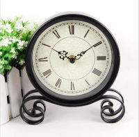 Europe Corsica Style Retro Circular Desk Table Clocks Nostalgia Wrought Iron 8in Clock Home Decoration