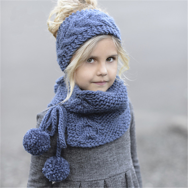 Fashion The Children's Headband Scarves Warm Photography Props Winter Knitted Wool Cap Blue Hat Scarf Knitted Two-piece Suit