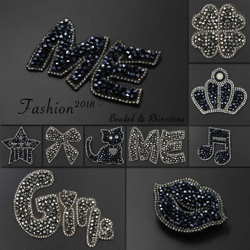 Iron on Patches for Clothing Rhinestone DIY Patch Applique Clothes  Decoration Crystal Black Diamond Cat Lips b2197d60b717