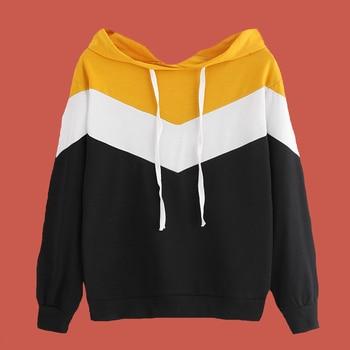 Color Block Hoodie Patchwork White Black Yellow Hoodie Poleron Mujer 2019 Korean Streetwear Wave Striped Women Hoodie Multicolor color block striped jumper