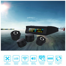 New car Solar Power TPMS Wireless Tire Pressure Monitoring System Car Style Lcd pressure alarm System 4 External built-in sensor