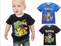 Новый 2016 мальчика футболка Pokemon идти хлопка с коротким рукавом футболки печать детский мультфильм Покемон go детские мальчики детская одежда