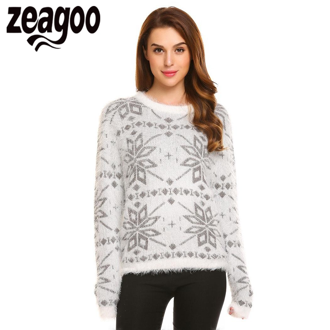 Zeagoo 2017 Autumn Winter Pullover Sweater Women O-Neck Long Sleeve Christmas Casual Soft Knit Pullover Sweater pull femme
