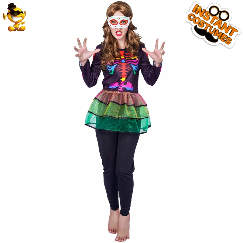 Ms. Adult Colorful Skeleton Costume Halloween Ballet Skirt Lady Role Playing Costume Halloween Carnival Party Play Costume