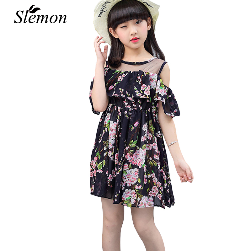 Toddler Teen Strapless Girls Dresses Summer Party 2018 Little Kids Floral Clothes 3 4 5 6 8 9 10 12 13 Years Casual Travel Dress 2018 dresses girls sleeveless summer denim dress little girls casual dress size 4 6 8 10 12 14 years kids dress