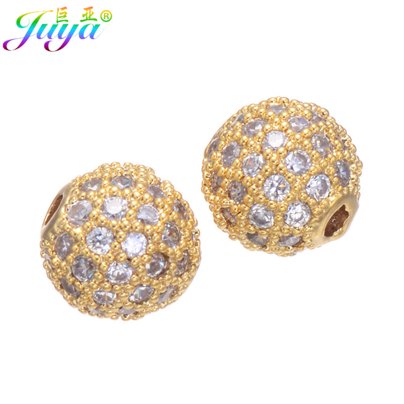DIY Jewelry Supplies Paved Zircon Copper Charm 8mm Ball Beads Accessories  For Natural Stones Bracelets Necklaces Earrings Making-in Beads from Jewelry  ... 272bc1861358