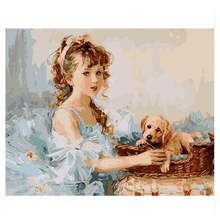 RIHE Girl With Dog Arcylic Painting By Numbers On Canvas Framed Abstract Wall Pictures Art For Living Room Home Decoration Gift
