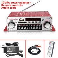 Con 12v5a Adaptadores de corriente + cable de audio + CONTROL IR kentiger hy-602 Amplificadores mini portátil LED pantalla USB SD FM AMP