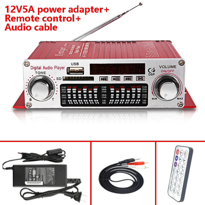 цена на With 12V5A Power Adapter+Audio Cable+IR Control Kentiger HY-602 Amplifier Mini Portable LED Display USB SD FM Player Amp
