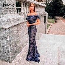 Finove Русалка расшитое блестками длинное вечернее платье с сексуальными открытыми плечами прозрачные в талии светоотражающее платье длинное платье