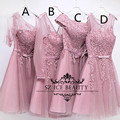 Em Estoque Rosa Curto Vestidos de Dama de honra Com Fita Sash Vestido Apliques Illusion Corpete 2016 Meninas Vestido de Festa Vestido de Madrinha
