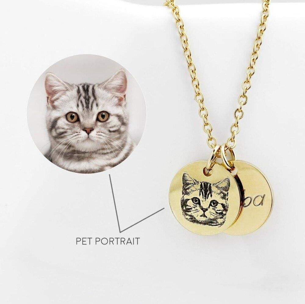 Pet Portrait Collier cadeau de noël pour Enfants Bijoux Image Collier Dainty et Or