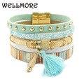 Pulsera de cuero para mujer, pulseras de 6 colores, pulseras chram bohemias, regalo para mujer, joyería al por mayor, envío directo