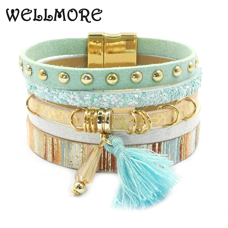 WELLMORE women leather bracelet 6 color bracelets Bohemian chram bracelets for women gift wholesale jewelry dropshipping