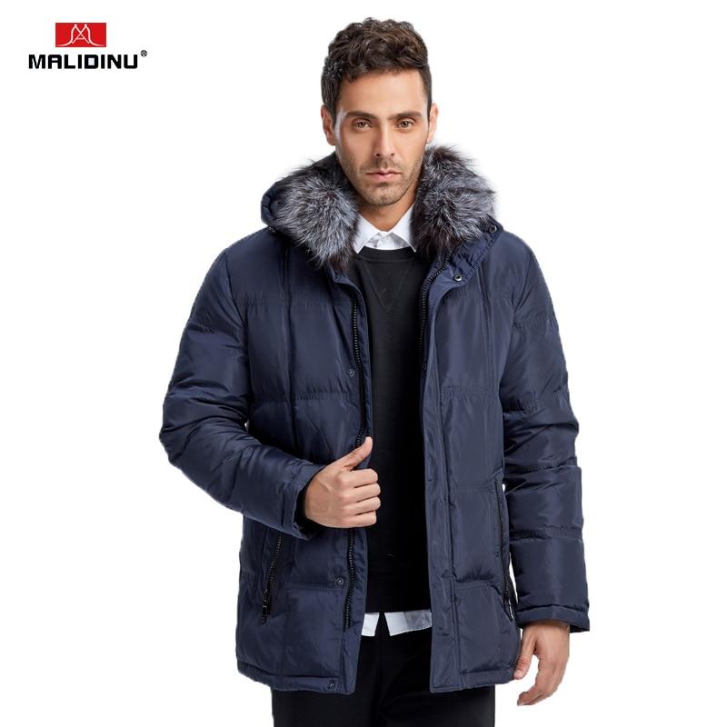 MALIDINU 2019 Brand Men Winter Down Jacket 70% Duck Down Warm Thicken Long Down Coat Parka Fox Fur Collar -40C Free Shipping