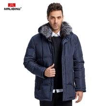 Malidinu 2020 marca homens inverno para baixo jaqueta 70% pato para baixo quente engrossar longo para baixo casaco parka gola de pele de raposa 40c frete grátis