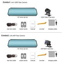 цена на TAVIN Dash Cam Rearview Mirror Car dvr Full HD 1080P 10 inch touch screen recorder Dual lens Night vision Camera Video Registrar