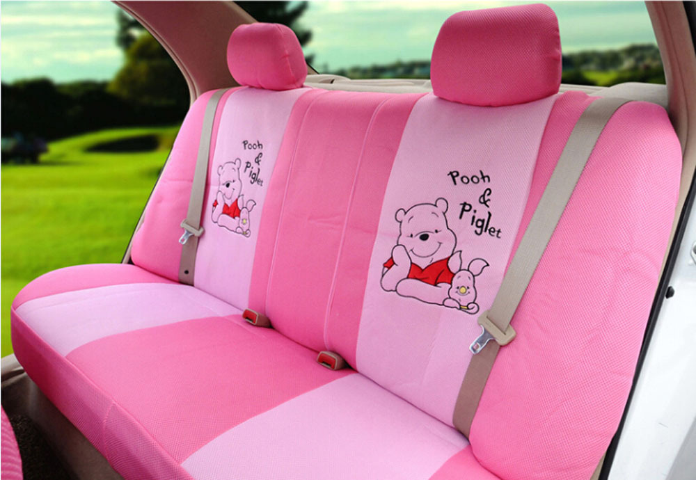 Classical Cartoon Pooh Car Seat Covers 1 Set Ice Silk Peach Red Automotive Cover Head Rest Steering Wheel In Automobiles