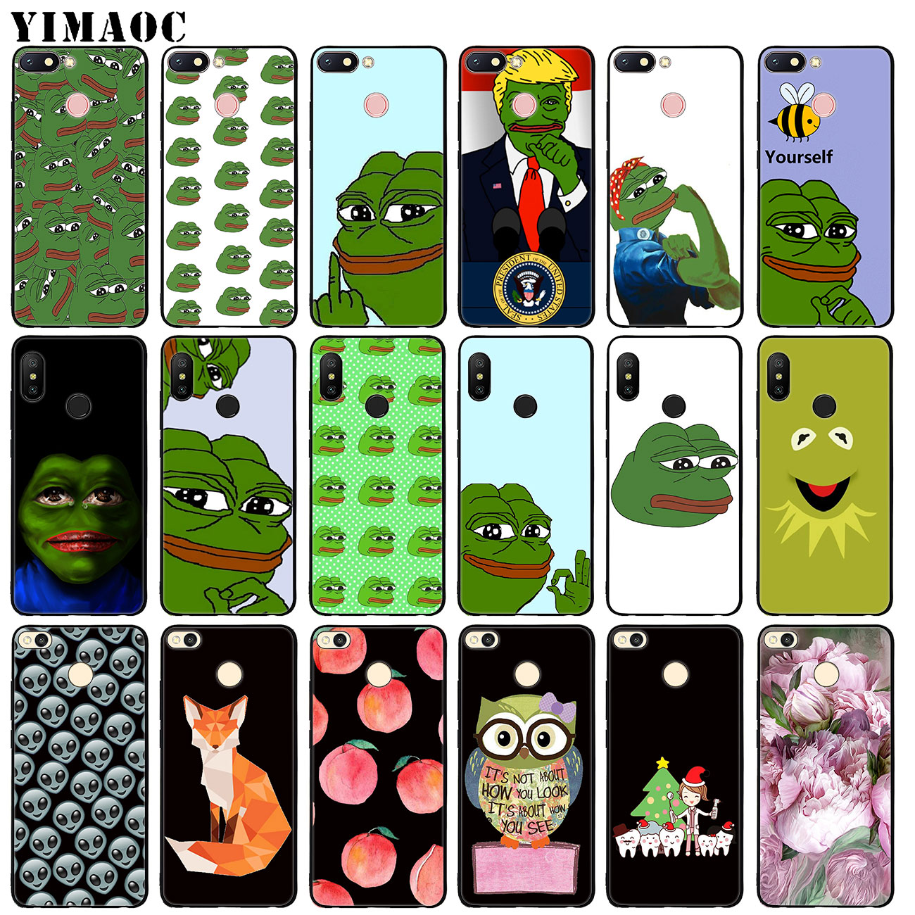 YIMAOC the frog meme memes Soft Silicone Case for Xiaomi Redmi 4A 4X 6A Note 4 5 6 Pro 5A Prime Plus Black flower TPU Cover