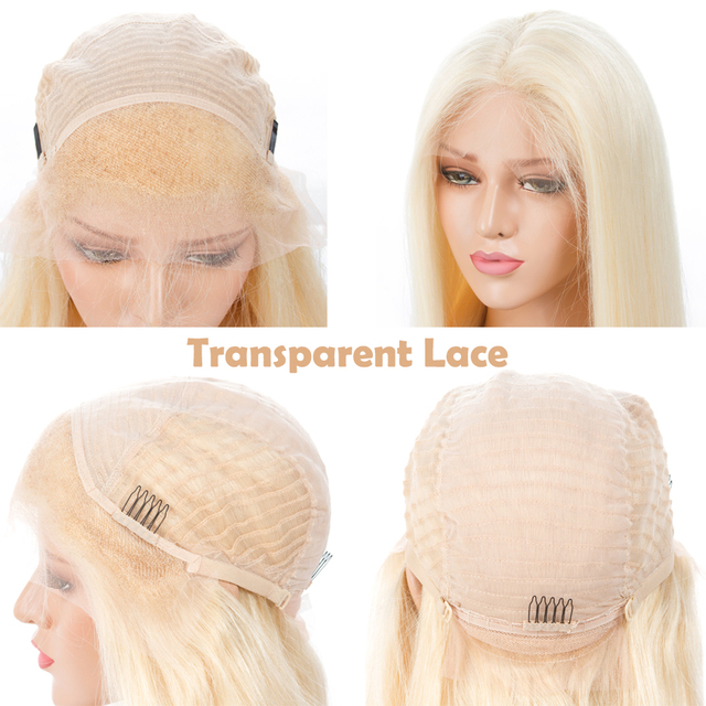 Blonde Lace Front Human Hair Wigs With Transparent Lace Pre Plucked With Baby Hair Straight Brazilian Remy