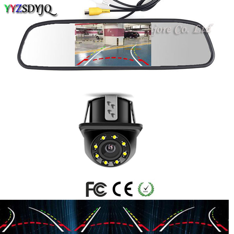 YYZ Dynamic Trajectory Tracks Rear View Camera Reverse Backup Vehicle parktronic camera and 4.3 inch HD Parking Mirror Monitor car rear view camera with intelligent dynamic trajectory tracks parktronic ccd reverse backup 8 ir parking cam night vision ip68
