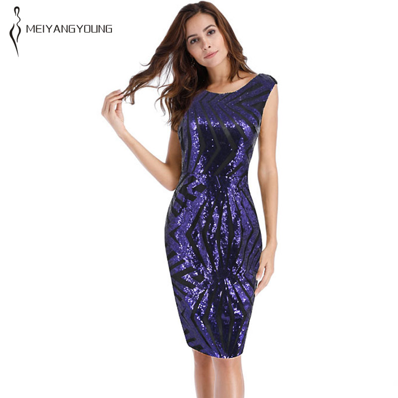 US $21.08 12% OFF|Plus size blue striped sequin dress women sleeveless  tight casual office dress teacher school fashion 2019 summer short  clothes-in ...