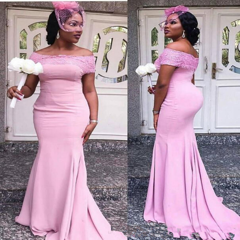 Light Purple Mermaid   Bridesmaid     Dresses   Plus Size Lace Applique Wedding Guest   Dress   Sweep Train Off Shoulder Maid Of Honor Gowns