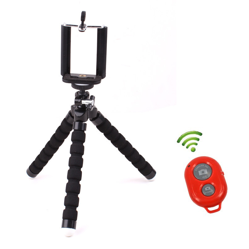 Mini Flexible Tripod Phone Holder Clip Bluetooth Remote Shutter for Gopro Hero 3 4 for iPhone
