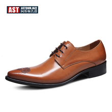 Hight Qulaity Mens Genuine Leather Carved Pointed Toe Dress Shoes Business Man Lace Up Oxfords Trendy Wedding Shoes цены онлайн