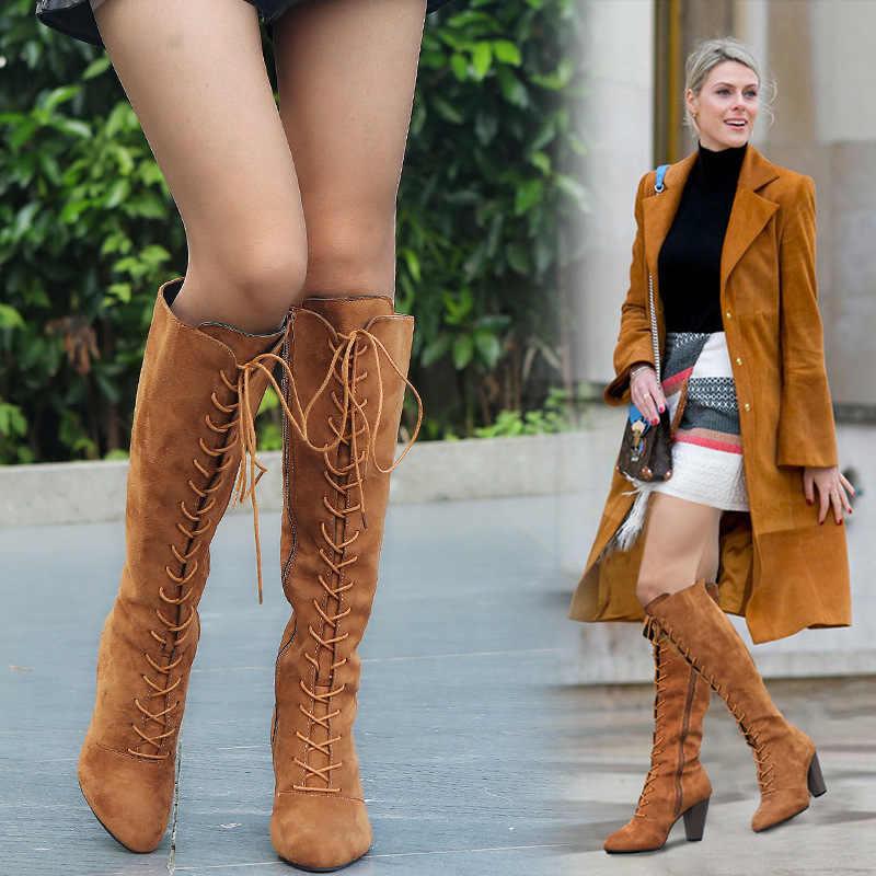 Kadınlar Bayanlar Kalın Topuklu Yüksek Topuklu Uzun binici çizmeleri Avrupa Marka Tasarım Sivri Burun Lace Up Bandaj Motosiklet Boots Ayakkabı