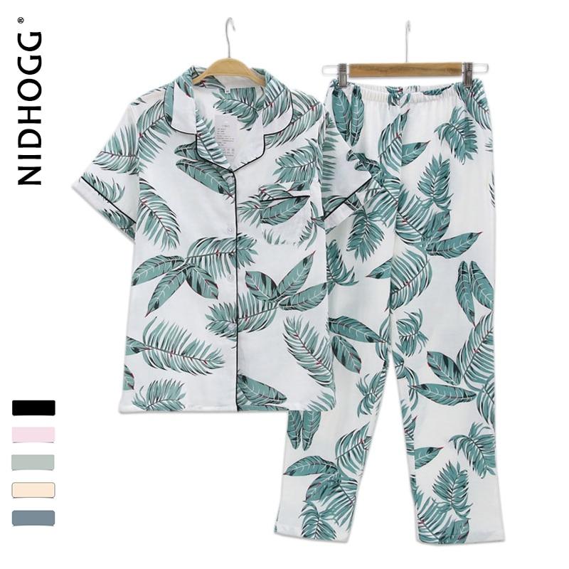 Women 100% Cotton Gauze Short Sleeve Trousers Korea Pajamas Fresh Leaf Pyjamas Printing Pijama Mujer Homewear Womens Sleepwear