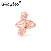 Rings with Rose Flower Cubic Zirconia Rose Gold 585 Rings for women With Stones Crystal Luxury Brand Korean Female Jewelry jza22 luxury large pink opal finger rings rose gold color fashion brand cubic zirconia punk jewellery jewelry for women dfr086