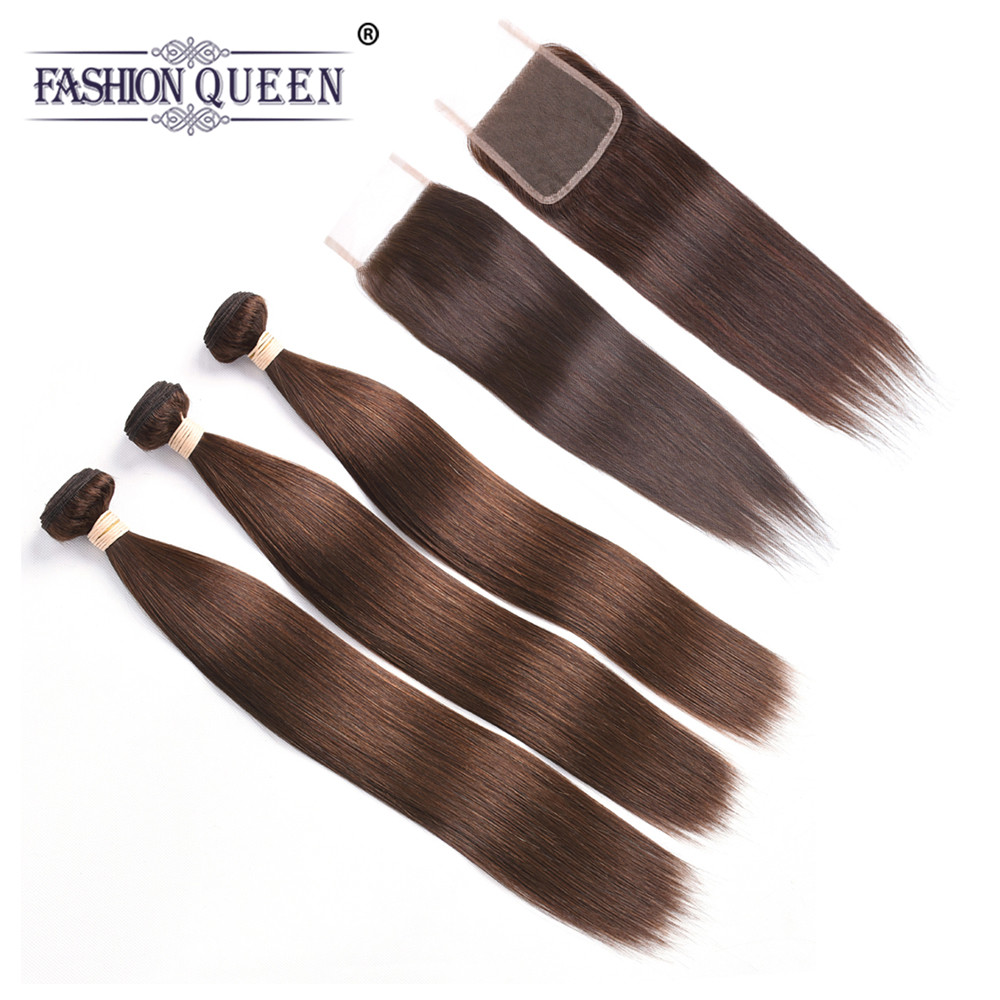Fashion Queen Malaysia Straight Hair 3 Bundles with Closure #4 Middle Brown Pre-colored Remy Human Hair with Closure Free Part