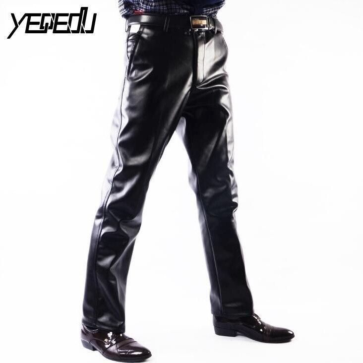 # 2202 Faux מכנסיים עור אמיתי גברים אופנה מקרית פלוס גודל 29-42 אופנוע מכנסיים גברים PU עור Joggers Pantalon Homme