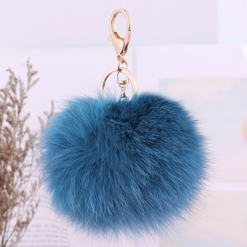 100% Real Fox Fur Pom Pom KeyChain Fox Hair Bulb Bag Car Ornaments Fur Ball Pendant Key Ring Porta Chiavi Key Holder GL5040