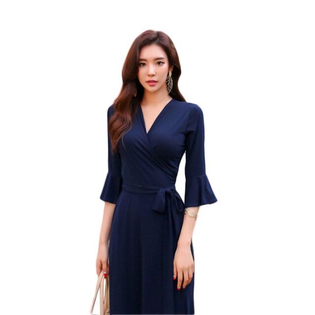 2018 femmes d 39 t col v maxi robe portefeuille dames longue plage robes robe longue femme ete. Black Bedroom Furniture Sets. Home Design Ideas